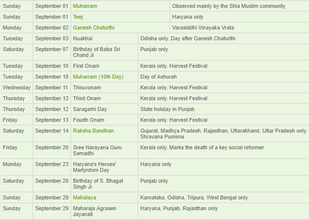 September Calendar India Takvim Kalender Hd